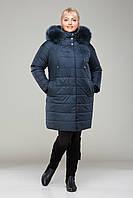 Пальто женское зимнее с мехом  М - 360, морская волна