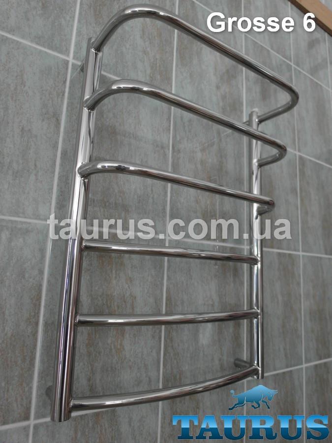 Полотенцесушитель Grosse 6-3 в ванную комнату, шириной 45см. Н/ж сталь. Зеркальная полировка.