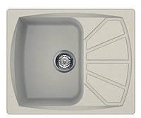 Мойка кухонная врезная гранит размер 61 на 50 см прямоугольная производство Украина Серебро (600)