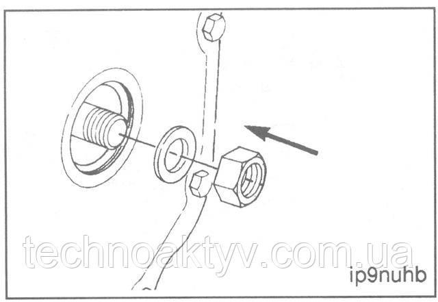 Ключ 30 мм (насос Р7100)  Установите контргайку с шайбой.  Крутящий момент затяжки:от 10 до 15 Н*м [7 to 11 ft-lb]  ПРИМЕЧАНИЕ: Не превышайте рекомендуемую величину крутящего момента, поскольку для данной контргайки это не последняя затяжка.