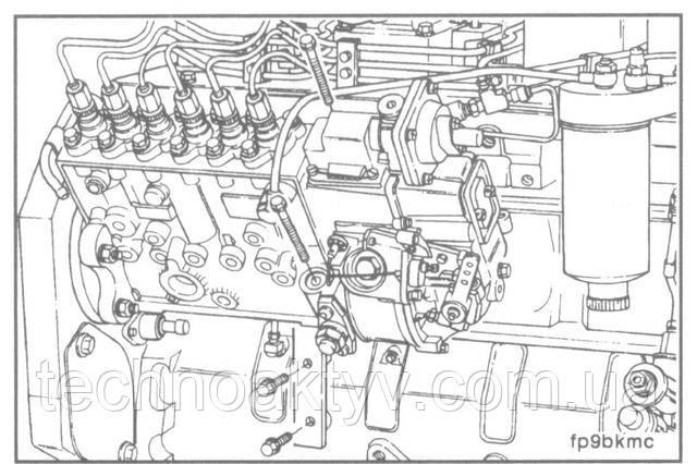 Ключ 10 мм  Усилием руки затяните болты установочного кронштейна ТНВД.  Для того, чтобы обеспечить ровную установку затяните опорные установочные болты.  Крутящий момент затяжки:24 Н • м [18 ft-lb]