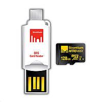Карта памяти Strontium 128 GB microSDXC Class 10 USH-I Nitro + OTG&USB Card Reader SRN128GT оригинал Гарантия!