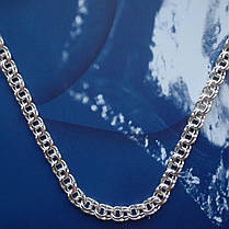 Серебряная цепочка, 500мм, 22 грамма, плетение Бисмарк, светлое серебро, фото 2