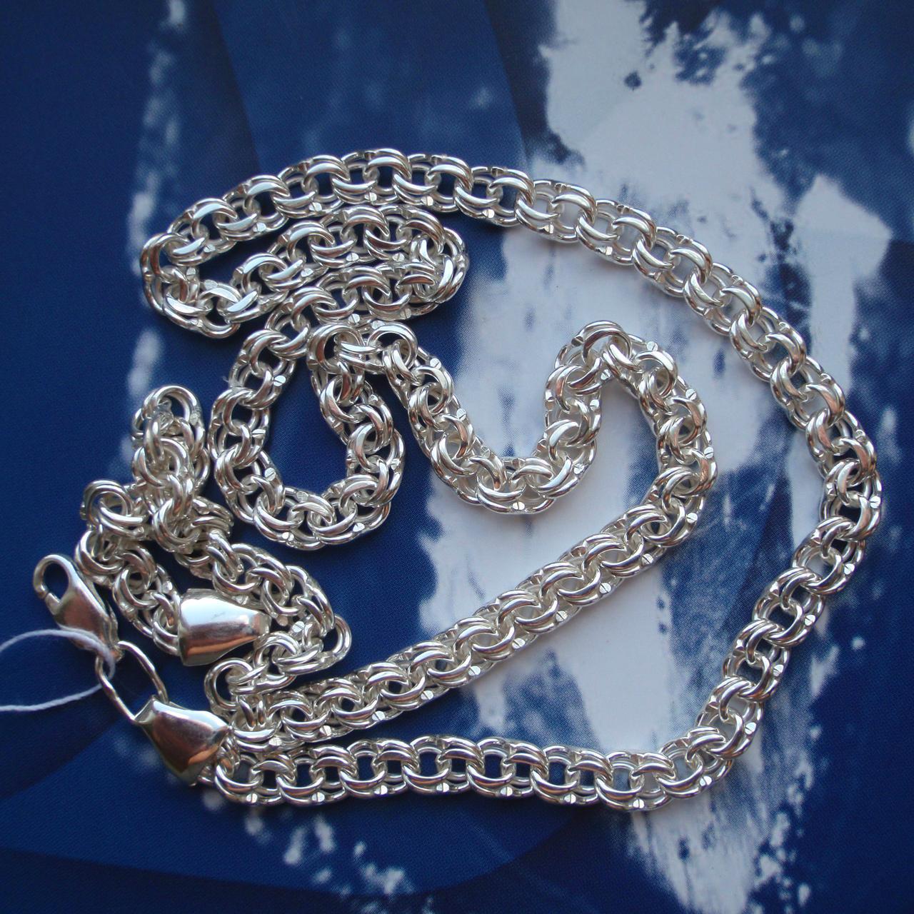 Серебряная цепочка, 500мм, 22 грамма, плетение Бисмарк, светлое серебро