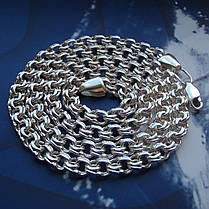 Серебряная цепочка, 500мм, 22 грамма, плетение Бисмарк, светлое серебро, фото 3