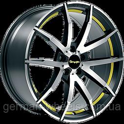 """Диски от Tomason (Томасон) модель TN10 цвет Gunmetal polished Yellow параметры 8,5J x 18"""" PCD 5 x 100 ET 30"""