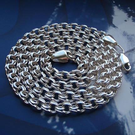 Серебряная цепочка, 550мм, 26 грамм, плетение Бисмарк, фото 2