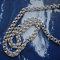 Серебряная цепочка, 550мм, 26 грамм, плетение Бисмарк, фото 3