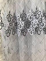 Турецкий фатиновый тюль 705-black с вышитыми завитками, фото 2