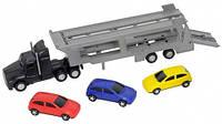 Автотранспортер (черный) и 3 машинки, Dickie Toys (374 6000-3)