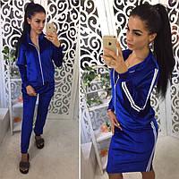 Костюм женский модный бархат тройка - кофта, юбка и брюки разные цвета Dok621, фото 1