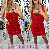 Женское платье со шнуровкой  у-170400