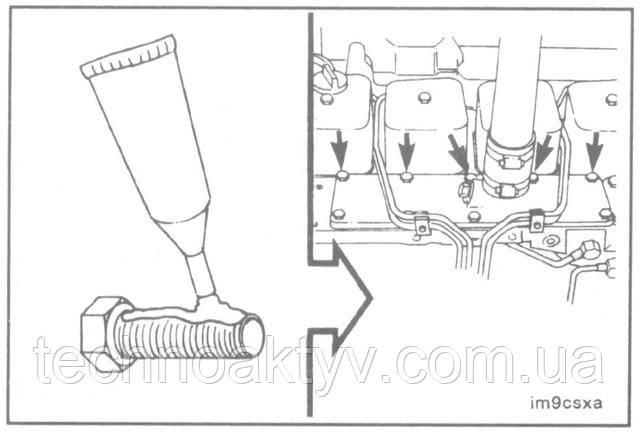 ПРИМЕЧАНИЕ:Показанные на рисунке отверстия - сквозные, поэтому их необходимо герметизировать, для чего нанесите на болты некоторое количество герметика на основе жидкого тефлона.