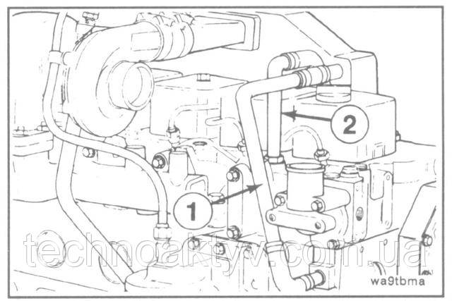 Ключ 8 мм  Снимите трубопроводы подачи (1) и отвода (2) охлаждающей жидкости.