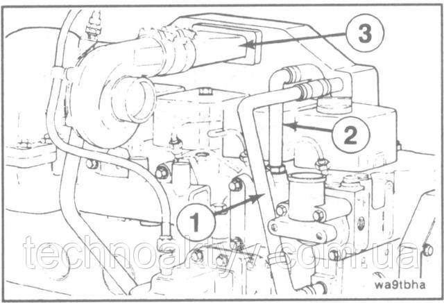 Ключ 8 мм  Установите трубопроводы подачи (1) и отвода (2) охлаждающей жидкости. Установите соединительный патрубок (3).  Установите и прокачайте топливопроводы высокого давления.  Крутящий момент затяжки: 8Н • м[6ft-lb]