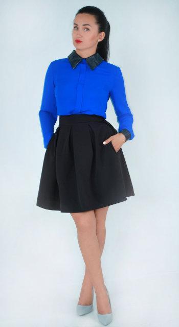 Молодёжная юбка-колокольчик с карманами чёрного цвета 42-48