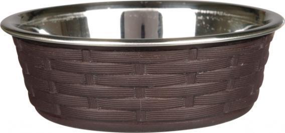 Trixiе (Трикси) Миска металлическая с пластиковым покрытие полиротанг для собак, 0.4л/ø14см