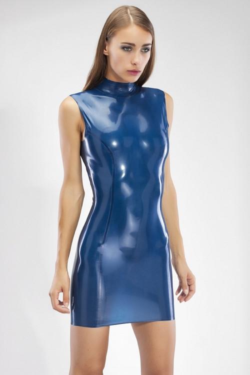 Латексное мини-платье с воротником стойкой