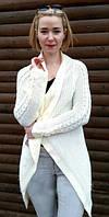 """Кардиган женский вязанный, свитер женский """"Ashra"""", размеры 46-50, Украина Молочный"""