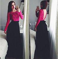 Платье в пол с гипюром и открытой спиной