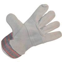 Перчатки комбинированные х-б-кожа (спилок)