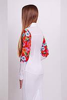 Хлопковая женская белая блузка с длинным рукавом