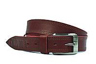 Бордовый мужской кожаный ремень Masco