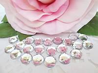 Клеевой декор-стразы, d 8 мм, цвет белый (прозрачный), 25 шт