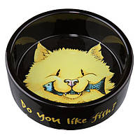 "Trixie (Трикси) Миска керамическая ""Do you like Fish"" для кошки черная, 0.3л/ø12см"
