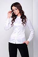 Деловая женская белая блузка до длинного рукава