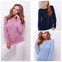 Стильный женский вязаный свитер ажурная вязка