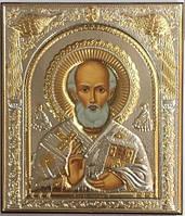 Святой Николай Чудотворц Silver Axion икона Греческая 75 мм х 85 мм, Славянский или русский стиль