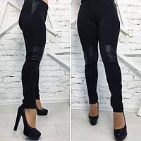 """Женские брюки в обтяжку с кожаным декором большой размер """"Vita"""" 2P/GA-4678"""