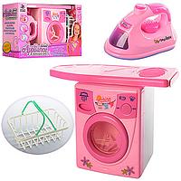Детская бытовая техника  игрушкаНабор бытовой техники2028A -стир.машина, утюг, глад.доска, корзина, муз., с