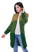 Длинный вязанный кардиган - зеленый \ оливковый