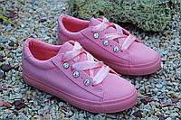 Стильные розовые кеды с камнями и шелковыми шнурками