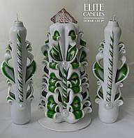 Белые свечи лебеди для свадьбы. Оригинальная резная форма от нашей мастерской.