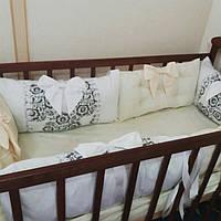 Бортики-защита в детскую кроватку из качественного хлопка, фото 1
