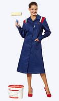 Халат рабочий женский Евро,ткань грета синяя