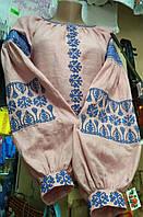 """Блузка лен розовая с голубым узор """"геометрия""""  блузка ручной вышивки от производителя модель ВБ01"""