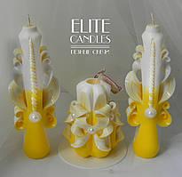 Весільні свічки, набір з трьох свічок ручної роботи