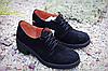 Стильные туфли на маленьком каблуке натур замша