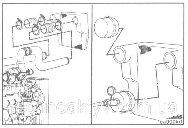 Для того, чтобы проверить воздушный охладитель на наличие трещин в трубках или соединительной пластине, отсоедините от охладителя шланги для подвода и отвода воздуха.  Снимите воздушный охладитель.  При помощи приспособления 3824556 установите крышку на выпускное отверстие охладителя. Манометр и трубу подачи воздуха из мастерской подсоедините к впускному отверстию охладителя.