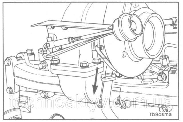Ключ 10 мм  Снимите болты со сливного маслопровода