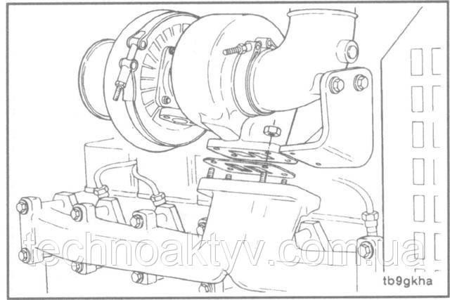 Ключ 15 мм  Установите турбокомпрессор и новую прокладку.Крутящий момент затяжки:43 Н • м [32ft-lb]