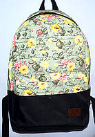 Текстильный рюкзак со спинкой на спонже 27*39 с цветочным принтом