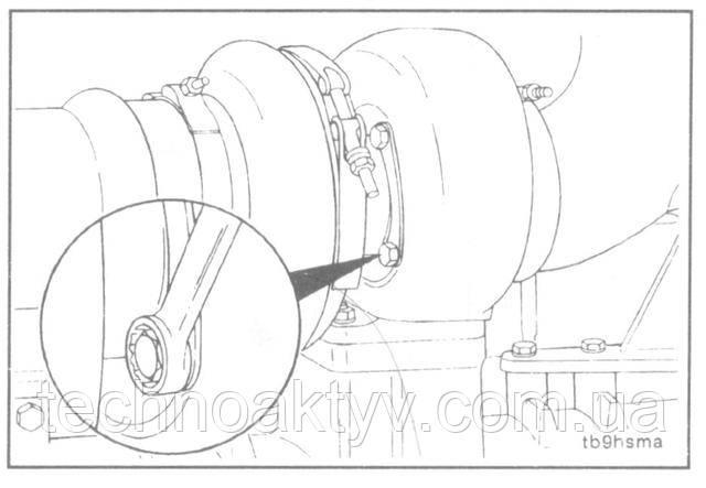 Ключ 13 мм, зубило, молоток  Затяните болты крепления корпуса турбины, если они были ослаблены. Для фиксации положения загните замковые пластины.  Крутящий момент затяжки:20 Н • м [15 ft-lb]
