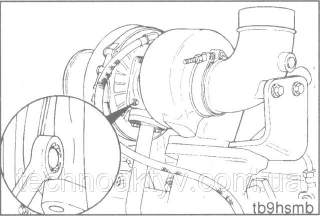 Ключ 10 мм  Если необходимо, ослабьте крепление корпуса компрессора и поверните его так, чтобы совместить с соединительным воздушным патрубком.  Крутящий момент затяжки:8,5 Н • м [75 in-lb]