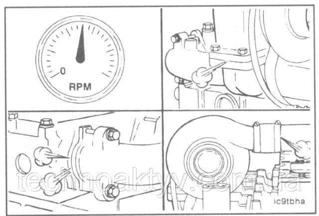 Установите соединительный воздушный патрубок, впускной и выпускной воздухопроводы.  Пустите двигатель и проверьте герметичность соединений.