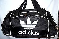 Спортивная дорожная сумка Адидас из плащевки 57*28 (черная)